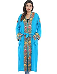 Exotic India Cyan-Blue Kashmiri Robe With Ari Hand-Embroidered Flowers - Blue