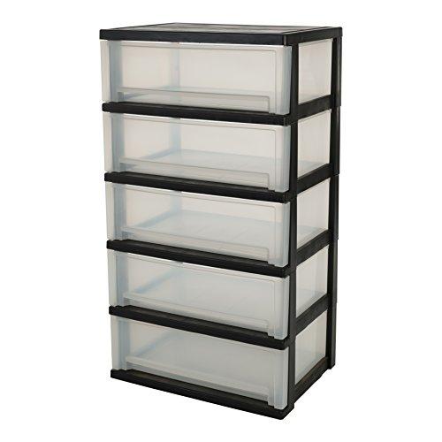 IRIS, Rollwagen / Rollcontainer / Schubladenbox 'Smart Wide Chest', SWC-505P, 5 Schubladen, für Werkzeuge, Plastik, schwarz, 39x54x93 cm