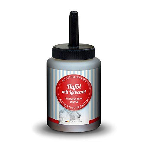 Mühldorfer Huföl mit Pinsel für Pferde, Schutz vor Hornspalt und Absplitterung, Mit Lorbeeröl, Mühldorfer's Sensitiv-Premium, 500 ml
