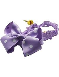 NeedyBee Headband With Polka Dot Ribbon Bow For Baby Girls Newborn Purple (Kids Hair Accessories)