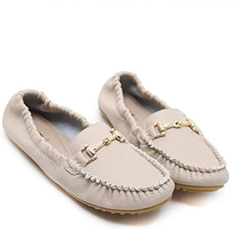 FuweiEncore Cuir Chaussures pour Femmes Chaussures Bateau en Cuir FuweiEncore élastique Chaussures à Talons, Chaussures de Travail... 07f7f4