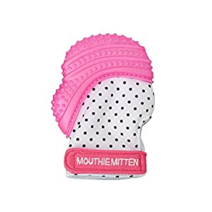 Mouthie Mitt Baby Teething Glove Pink-USA Award Winning Baby Mitten Soothing Pain Relief-Age 3-12 Months Protects Babys Hands from Salvia & Chewing Secure Adjustable Strap. Washable