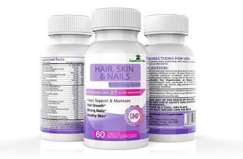 Capelli, pelle e unghie + 5,000mcg di biotina.60 capsule premium con 27 ingredienti attivi, con biotina, miscelata per darvi capelli spessi, unghie piu' forti e pelle radiosa.garanzia 100%!