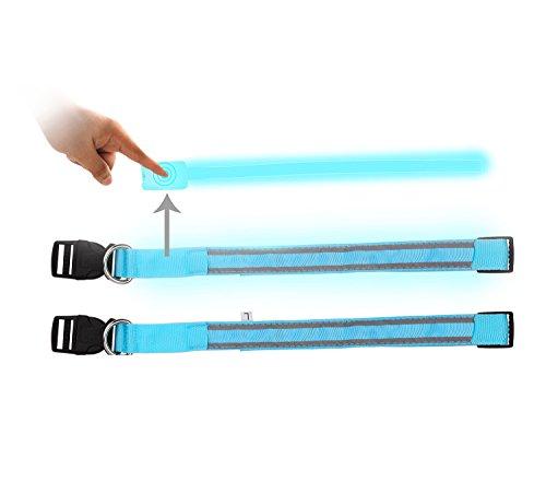 iManson LED Hundehalsband Light – Hunde Leuchthalsband Universell – 3 Modi – L Code(Blau) - 5