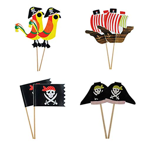 Toyvian Piraten Thema Party Cake Topper Kinder Geburtstag Party Cupcake Dekoration Muffin Essen Obst Picks Halloween Festival Supplies 60 Stück
