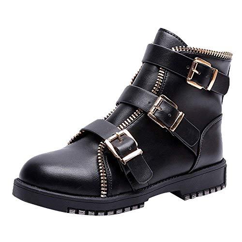 HhGold Tobillo Plano Botas de Invierno Zapatos de Mujer, 70s Retro Steel Toe Cap Plantillas Montar Punk...