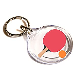 Tischtennis Schläger und Ball Emoji Key Ring / Table Tennis Paddle And Ball...