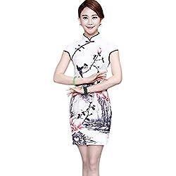 Hzjundasi New Tradicional Chino Mujer Seda de imitación Manga Corta Floral Folk-Custom Cheongsam Qipao Vestido XXXL