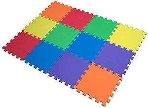 Edukit - Tappeto a puzzle in schiuma per il gioco dei bambini, 12 pezzi in EVA, piastrelle in schiuma multicolore