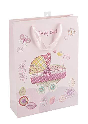 Idena 30210 Geschenktasche Geburt Mädchen Baby Girl, rosa