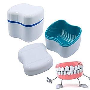 Yeshai3369 Zahnputzbecher, falsche Zähne, für die Reinigung und Aufbewahrung – zufällige Farbe, 1 Stück