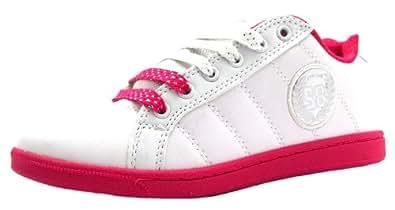 Size 13 Girl's Mojito Mercury White/fuchsia Lace Up Skate Style Trainers