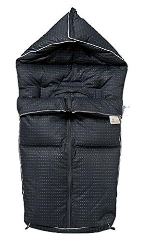 ARO Artländer 86853 Daunenfußsack, Multiwichtel, schwarz pünktchen (Luft Zipper)