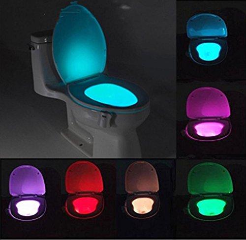 Mecohe Luci da Toilette, Lampada Notturne Lampada WC Igienici Bagno Led Luce Batteria con Notte Sensore di Movimento - 8 cambiamento di colori