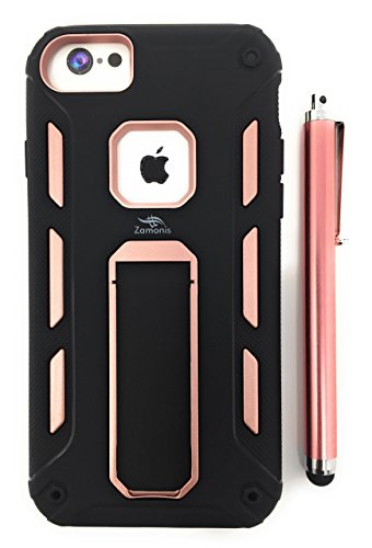 iPhone 6Case mit Ständer durch zamonis | Heavy Duty Soft TPU und Harte PC Rugged Dual Layer Schutzhülle Kompatibel mit iPhone 8, iPhone 7& iPhone 6in Wahl der Farben, Rose ()