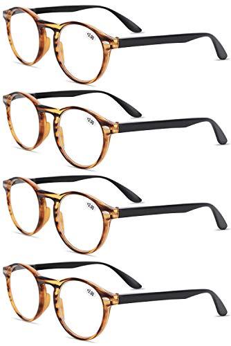 VEVESMUNDO® Lesebrillen Damen Herren Retro Runde Lesehilfe Sehhilfe Arbeitsplatzbrille Nerdbrille Hornbrille mit Stärke Schwarz Leopard Blau Rot Brau (4 Stück Braun Lesebrillen, 1.0)