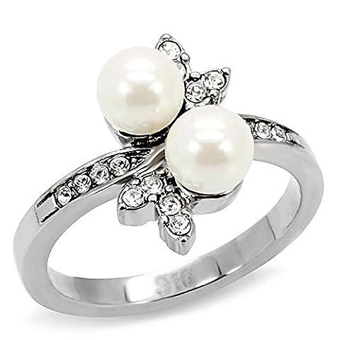 ISADY - Raiatea - Bague Femme - Acier - Oxyde de zirconium - Perle blanche - Taille 60