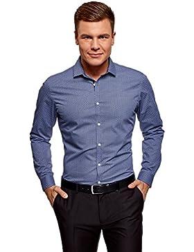 oodji Ultra Uomo T-Shirt in Tessuto Spesso con Orlo Grezzo