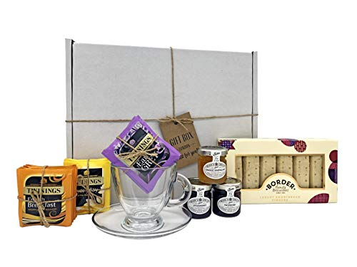 Perfect British Afternoon Tea Gift Box Hamper! Tea, Jams, Marmalade, Luxury Shortbread with Cup and Saucer Set! Great Summer Gift Idea!