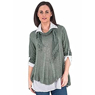 Love My Fashions®Womens Blouse Ladies Casual Long Sleeve Loose Blouse 3Pcs Mesh Net Sequins Floral Side Panel Scarf Layered Style Jumper Tunic Round Neck T-Shirt Summer M L XL XXL XXXL Plus Size