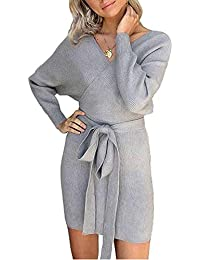 e2f82afc Yidarton Sweater Women's Jumper Dress Sexy Elegant Backless V-Neck Batwing  Long Sleeve for Ladies