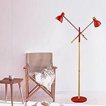 DLewiee Nordic Holz Stehlampe Wohnzimmer Schlafzimmer Den Kreativen Minimalistischem Amerikanischen Land Lampe Stehend Rot