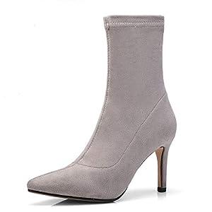 Top Shishang Herbst und Winter Weibliches Gefühl Retro bereiftes Spitz Stiletto elastische Martin Stiefel Chelsea Stiefel und Stiefeletten westlichen Stiefeletten