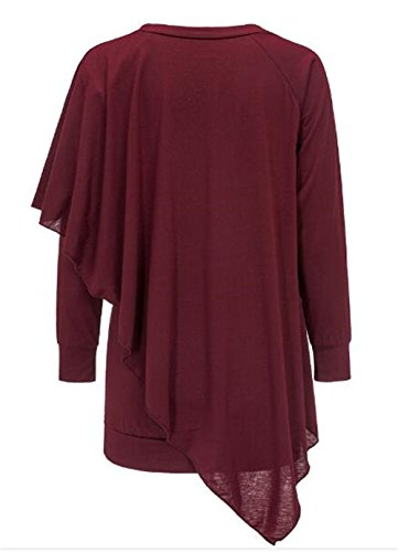 AILIENT Donna Slim Fit V-collo Manica Lunga T-Shirt Camicia Maglietta Lunga Orlo Irregolare Camicetta Maglietta Ufficio Tops Puro Colore Red Wine
