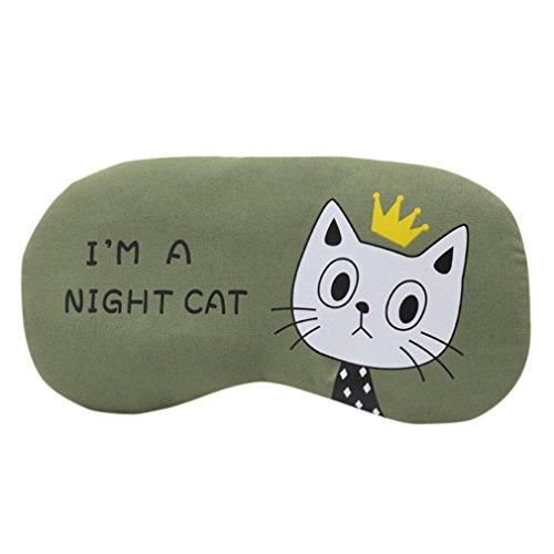 EARS Graue Katze der Blackout-Schutzbrillen der Karikatur Augenmaske weichen gepolsterten Schlaf Reise Schatten Cover Rest Relax schlafen Augenbinde (F) -