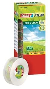 Tesa 57074-00000-00 Eco & Clear Ruban adhésif x8 33 m:19 mm Transparence parfaite