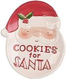 infactory Weihnachtsgeschirr: Keks-Teller mit Weihnachtsmann-Motiv & Aufschrift Cookies for Santa (Dekoteller)