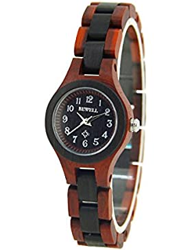 Herren Damen Holz Armbanduhr YFWOOD Uhren Hypoallergen Naur Holz Armband-uhr mit Japanischem Quarz Lederband Neutral