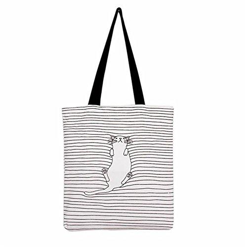Longra donne a strisce borsa tracolla zaino spesa borsa da viaggio gatto napping Bianca