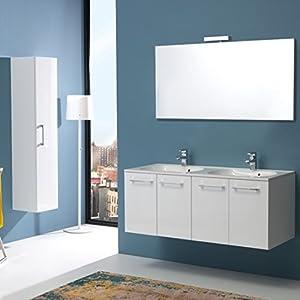 Kiamami Valentina Mueble DE BAÑO Boston 120 CM Cuatro Puertas Y Doble Lavabo Blanco Brillo