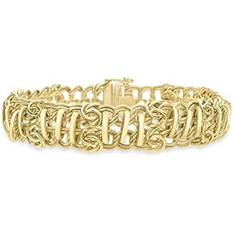 """9ct oro giallo anelli doppia fila braccialetto 20cm/8"""""""