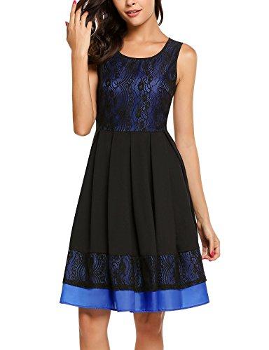 ACEVOG Damen Elegant Sommerkleid Spitze Kleid Ärmellos Knielang A Linie Patchwork Cocktail Partykleid Marine Blau