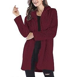 MISSMAOM Mujer Color Sólido Abrigo Largo Chaqueta Encapuchado Calidez Manga  Larga Cahqueta de Imitación ... 32d755da5b11