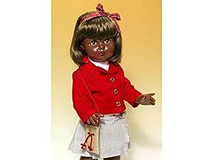 Mariquita Pérez-Conjunto Falda tableada Gris/Americana roja Complementos, Color, Blusa Blanca, (Comercial de Juguetes Maripe SL 1)
