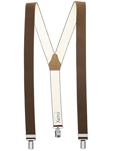 Xeira Bretelles de haute qualité pour Femmes/Homme avec 3 fort clips dans 30 Couleurs - Fabriqué en Allemagne (Marron, Standard - 110cm)