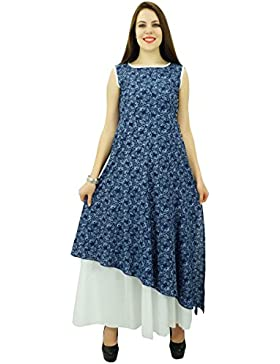 Phagun de mujeres de origen Sleevless Impreso Kurti algodón de la tapa vestido de la túnica diseñador