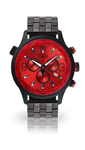 DETOMASO AURINO Herren-Armbanduhr Chronograph Analog Quarz schwarzes Edelstahl-Armband rotes Zifferblatt DT1061-B