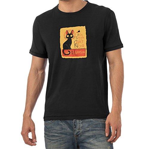 NERDO - Le Chat Noir - Herren T-Shirt, Größe L, schwarz
