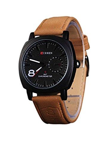 Timelyo -Armbanduhr für Herren und Damen, Quarzuhrwerk, Armband aus Echtleder, Braun.