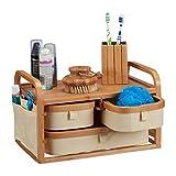 Relaxdays bambù, Mobiletto Bambã¹, 3 Scomparti, Mobile WC, Porta Trucchi, Rustico, Marrone, H X L X P: 34 x 19 x 23 cm