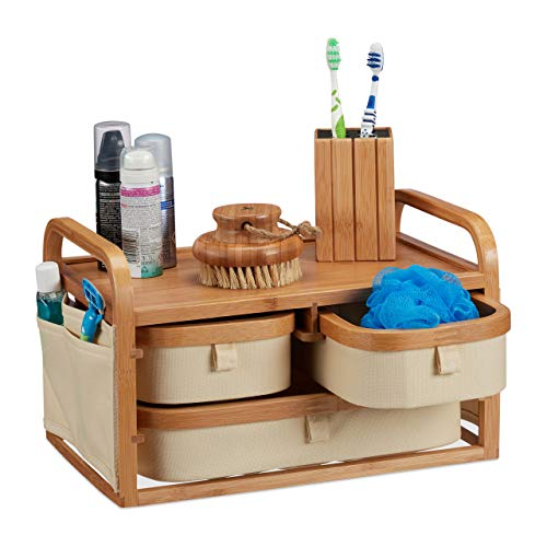 Relaxdays Mini Kommode Bambus, 3 Fächer, kleines Badregal, Stoff, Kosmetikorganizer Landhaus, HBT 19 x 34 x 23 cm, Natur, Standard -
