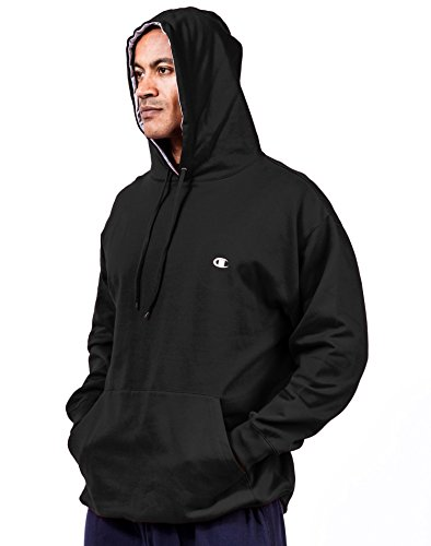 Champion Big & Tall Men\'s Pullover Fleece Hoodie with Contrast Liner XLT Black