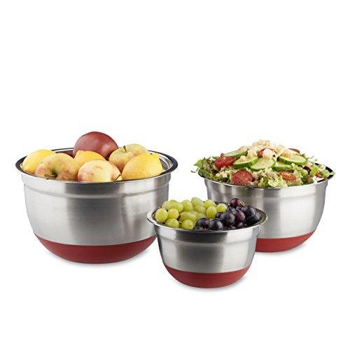 Relaxdays Bol mélangeur lot de 3 saladiers de différentes tailles en inox fond antidérapant en silicone, rose