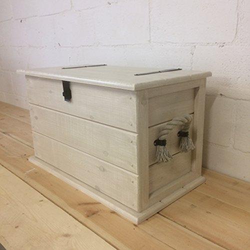The Handmade Furniture Company Handgefertigt Kiefer Massiv Shabby Chic Trunk. Kaffee Tisch. Kofferraum/Spielzeug Box. Leinen Brust. Decke Box. mit Seil Griffe