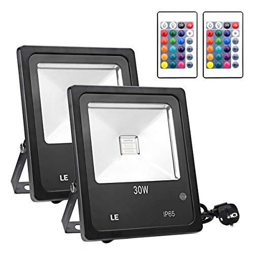 LE Foco LED RGB Proyector Exteriores, 30W Multicolor, Resistente al agua IP65,...