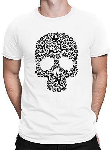 vanVerden Herren T-Shirt Totenkopf Blumen Schmetterling Totenschädel, Größe:3XL, Farbe:Weiß (Halloween-kostüme White Castle)